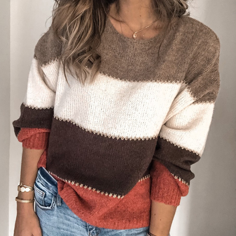 VIEUNSTA Fashion Patchwork O-neck Autumn Winter Sweater 19 Women Long Sleeve Warm Knitted Sweaters Pullover Female Tops Jumper 3