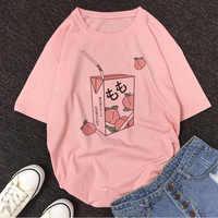 Cartoon Pfirsich Saft Japanses Ästhetischen Grunge T shirt Frauen Harajuku Nette Kawaii Rosa Sommer Casual Tumblr Outfit Mode Tops
