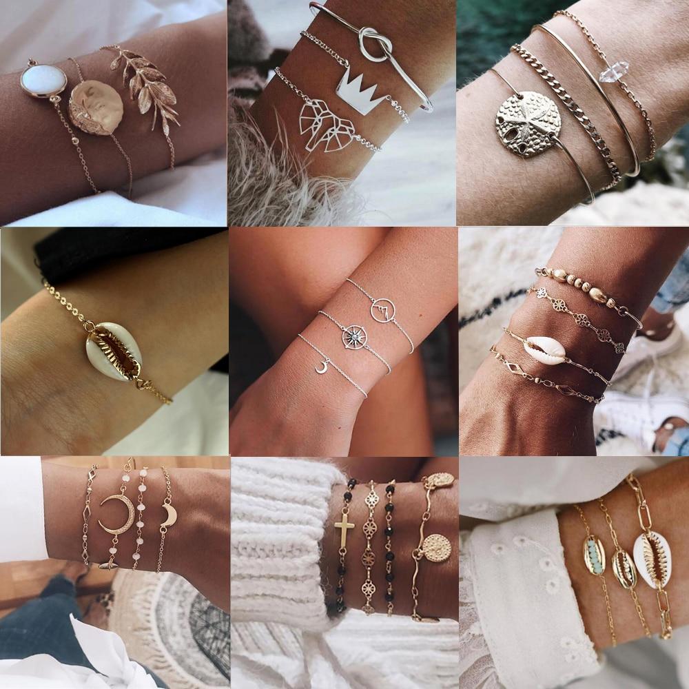 Tocona bohème lune Bracelets pour femme charmant été coquille croix éléphant couronne feuille perle bracelet bijoux cadeau en gros
