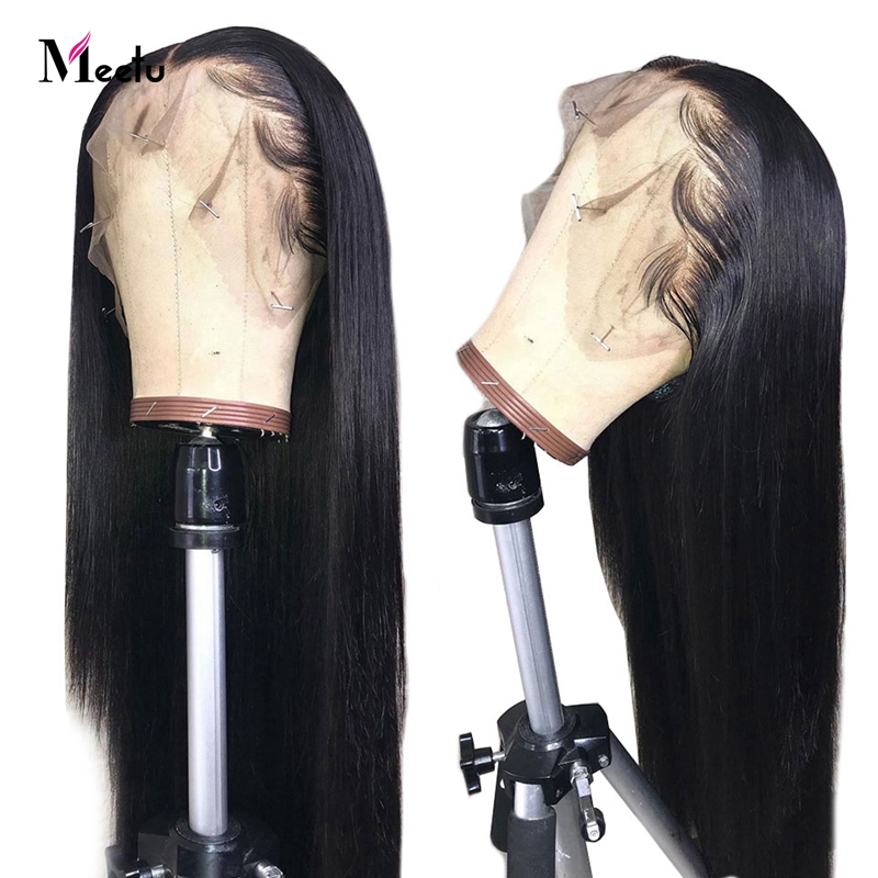 Meetu 13x4 Lace Front Human Hair Wigs Pre Plucked For Black Women Remy Malaysian Straight Lace Front Wig With Baby Hair