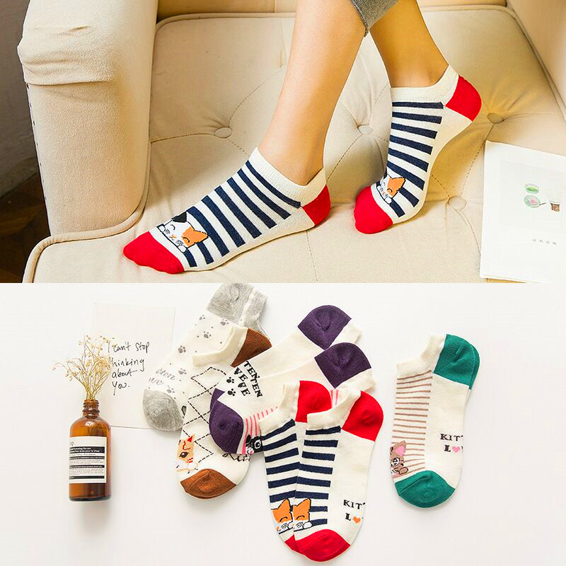 5Pairs Fashion Cartoon Animal Cat Bear Stripe Five Stars Short Sock Women Cute Funny Socks Female Casual Cotton Girl Ankle Socks