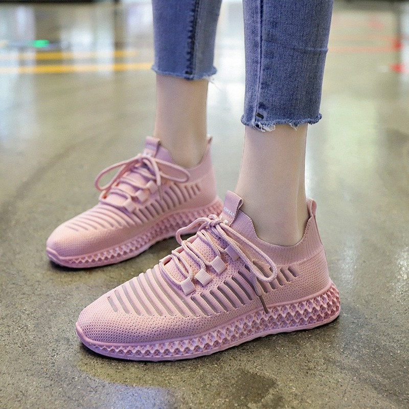 Hot Sale Women 39 s Vulcanize Shoes Classic Flyknit Shoes Ladies Casual Sweet Pink Lace up Fashion Sneakers Retro Shoes D0001 in Women 39 s Vulcanize Shoes from Shoes