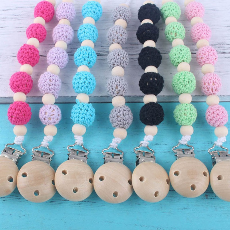 Personality Handmade Pacifier Chain Holder Wooden Anti-Lost Pacifier Chains  Baby Teether Teething Chain