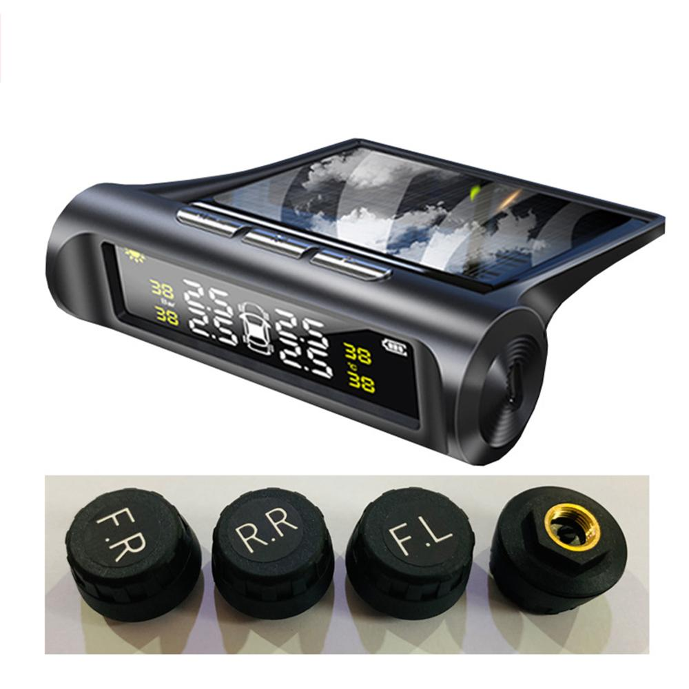 Pressure-Sensor Lcd-Display Car-Tire Solar-Charging TPMS USB 4 title=