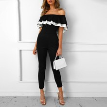 Autumn Off The Shoulder Casual Jumpsuit Women  Club Party Vacation Romper Patchwork Sexy Overalls