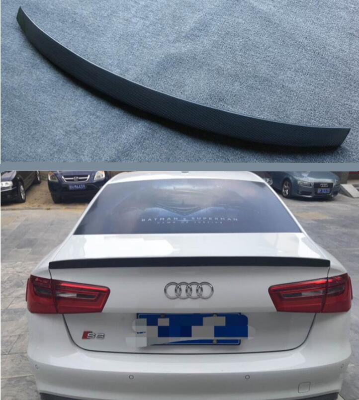 High Quality CARBON FIBER REAR WING TRUNK LIP SPOILER FOR AUDI A6 S6 RS6 C7 C7.5 Sedan 2012-2019 BY EMS image