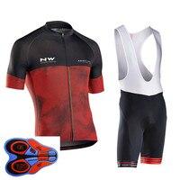 Spor ve Eğlence'ten Bisiklet Takımları'de 2019 NW Pro Bisiklet Jersey Seti Yaz Kısa Kollu Bisiklet bisikletçi giysisi Roupa ropa Ciclismo Döngüsü Maillot uniforme #524