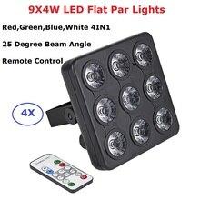 4 ピース/ロット DMX/赤外線リモコン Led 表示パネル 9 × 4 ワット RGBW 4IN1 高級 DMX 8 チャンネル LED フラットパーライト 90 240V 送料無料