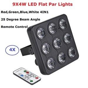 Image 1 - 4 pièces/lot DMX/IR télécommande LED spectacle panneau 9X4W RGBW 4IN1 luxe DMX 8 canaux LED plat Par lumière 90 240V livraison gratuite