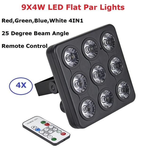 4 pièces/lot DMX/IR télécommande LED spectacle panneau 9X4W RGBW 4IN1 luxe DMX 8 canaux LED plat Par lumière 90 240V livraison gratuite