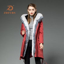 ZDFURS*2019 New Rex Rabbit Fur Parka Women Winter Jacket Fox Hooded Stripe Coat  Long Detachable Inner Warm