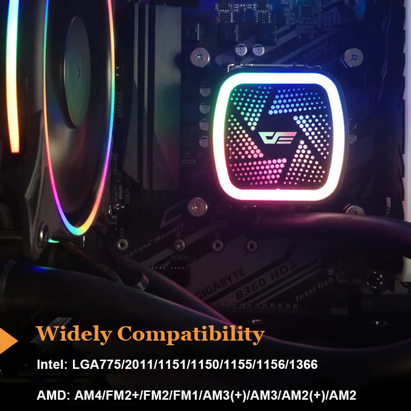 Image 3 - Aigo PC Case Water Cooling Computer CPU Fan T120/240 Water Cooler Heatsink Integrated Water Cooling Radiator LGA 2011/AM3+/AM4-in Fans & Cooling from Computer & Office