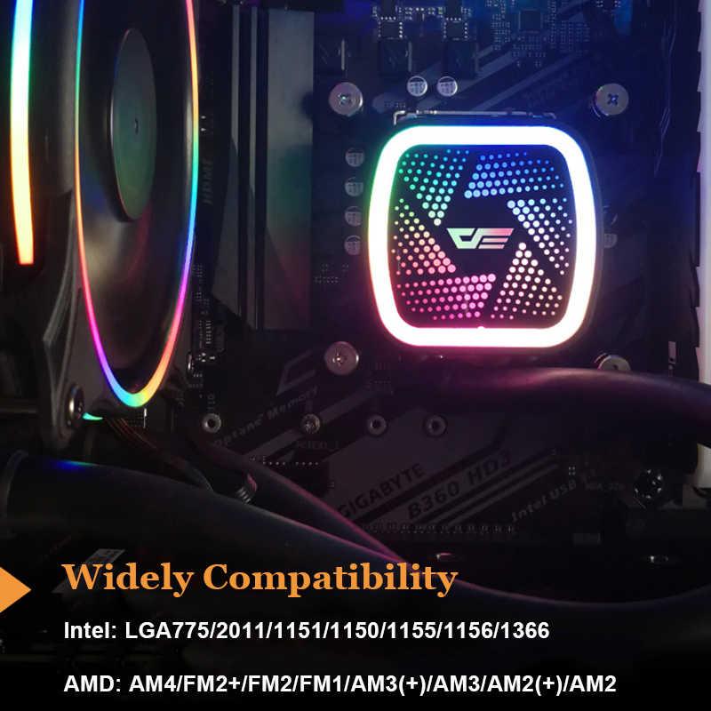 Aigo obudowa PC chłodzenie wodne chłodzenie CPU do komputera chłodnica wodna RGB Radiator zintegrowany chłodzenie procesora LGA 1151/2011/AM3 +/AM4