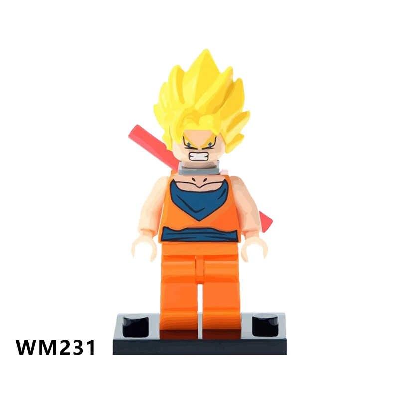 Única venda Building Blocks Son Goku Dragon Ball Vestido Laranja Cabelo Amarelo Modelo de Educação Em Quadrinhos s Dom Brinquedos Para Crianças WM6029