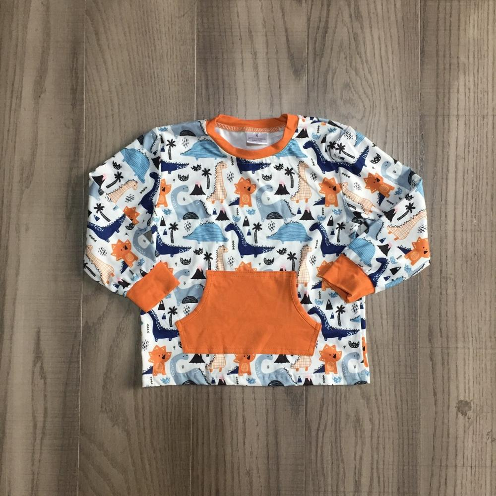 Girlymax Fall Winter Orange Dinosaur Pocket Cotton Milk Silk Top Long Sleeve T-shirt Baby Boys Raglans Boutique Kidswear 1