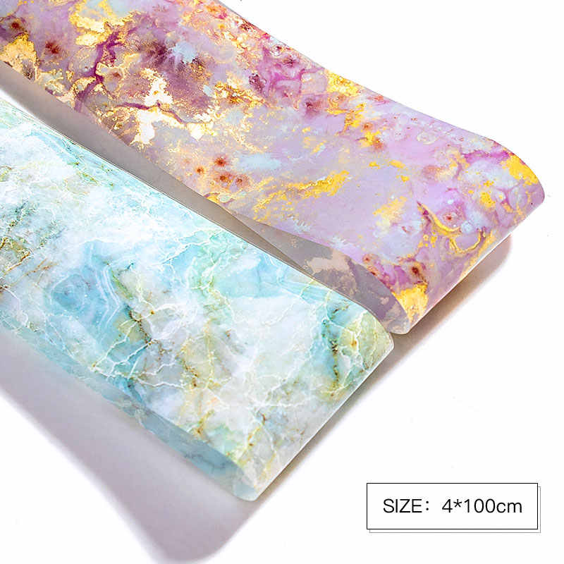 1 Box 100*4cm Nail Foils Marble Series Nail Art Transfer Sticker Paper Pink Blue Foils Bright Marble DIY Design Decoration