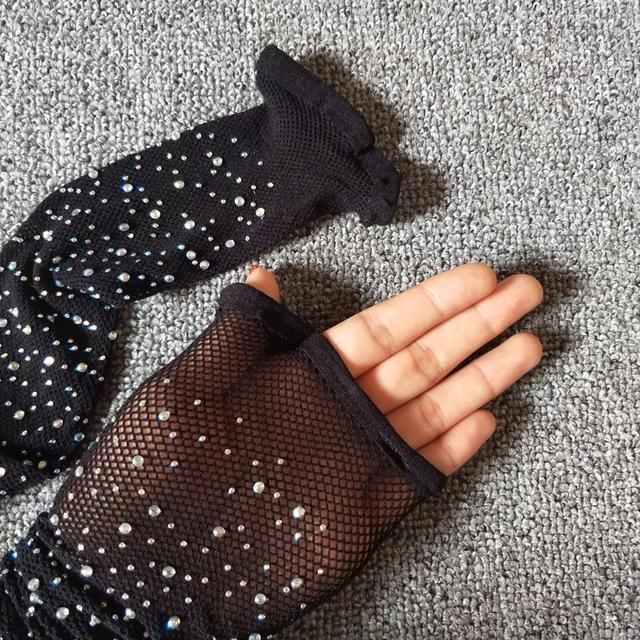 Women Crystal Rhinestone Fishnet Elastic Stockings Fish Net Tights Pantyhose FV