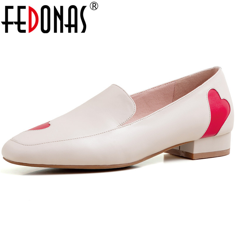 FEDONAS Sweet Women Square Toe Prom Wedding Pumps Spring Summer Round Toe Shoes Genuine Leather Love Decoration Shoes Woman