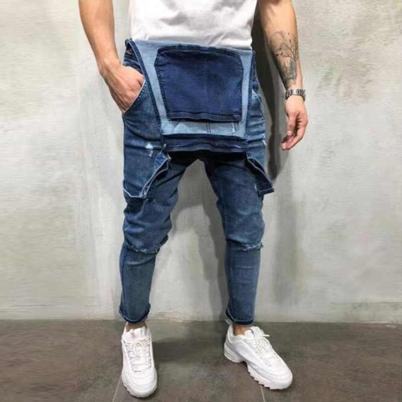 Men's Ripped Jeans Jumpsuits Work Coveralls Denim Bib Overalls For Male Retro Jeans Summer Sleeveless Protection Repairman