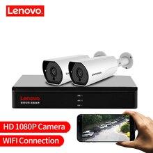 LENOVO 2CH 1080P POE NVR ערכת 2.0MP HD אבטחת CCTV המצלמה מערכת אודיו צג IP מצלמה P2P חיצוני וידאו מעקב מערכת