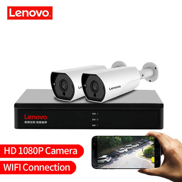 LENOVO 2CH 1080P POE NVR Kit 2.0MP HD CCTV Security camera System Audio monitor IP Camera P2P Outdoor Video Surveillance System