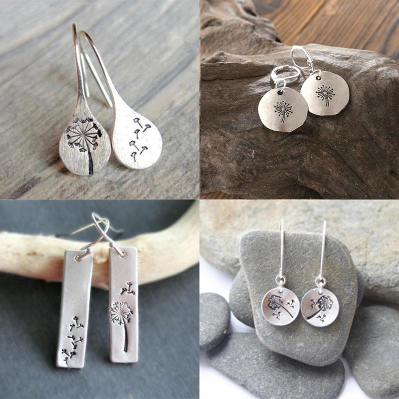 2020 semplice colore argento dente di leone ciondola gli orecchini per le donne fidanzamento gioielli da sposa dichiarazione orecchini pendenti Bijoux