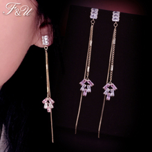 F&U  Natural Colorful Zircon Stone Copper & Electroplating Long Drop Earring For Women Fashion Jewelries