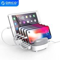 Docking Station per caricabatterie USB ORICO a 5 porte con supporto 40W 5V2.4A cavo di ricarica USB gratuito per iphone Tablet PC Samsung Xiaomi