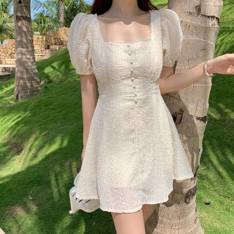 Chiffon Mini Summer <font><b>Dress</b></font> 2020 Embroidery <font><b>Elegant</b></font> A Line Square Neck Vestido Party Robe <font><b>Boho</b></font> <font><b>Beach</b></font> Festa Ladies <font><b>Sexy</b></font> Dressess image