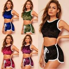 Conjunto de Yoga deportivo de 2 piezas para mujer, con cordón de Color sólido, ajustado, activo, para deporte, conjunto de camisetas cortas de manga corta, traje corto 2019 caliente