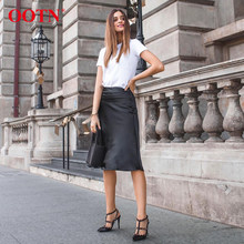 Fall Winter High Waist Skirts Women Black Skirt Streetwear A Line Skirt Female Botton Silk Slip Femme Satin Skirt New long skirt(China)