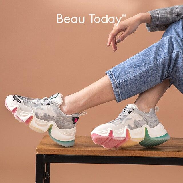 BeauToday Chunky 스니커즈 여성 레인보우 컬러 메쉬 암소 가죽 라운드 발가락 레이스 업 레이디 캐주얼 신발 여성 수제 29360