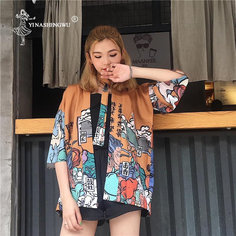 Japanese Kimono Traditional Yukata Kimono Femme Couple Kimono Cardigan Men Women Asia Cosplay Costume Japan Kimono Women Tops