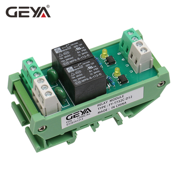 GEYA FY-T73 2 Channel Relay Module Din Rail 12V 24V AC230V Relay Interface PLC Control 12v 24v relay harness control cable for h4 hi lo hid bulbs wiring controller