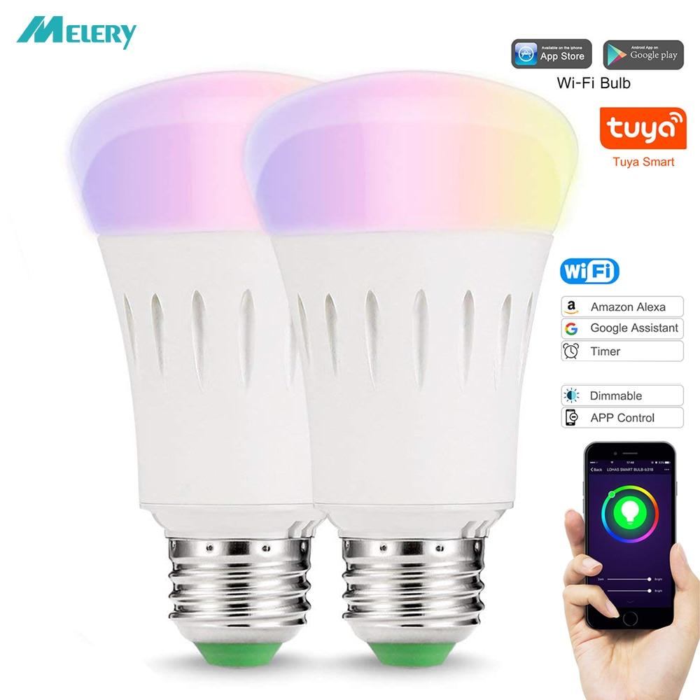 E27 Smart Dimmable LED RGB Color Light Bulb w//Alexa WIFI Remote Control Lamp New