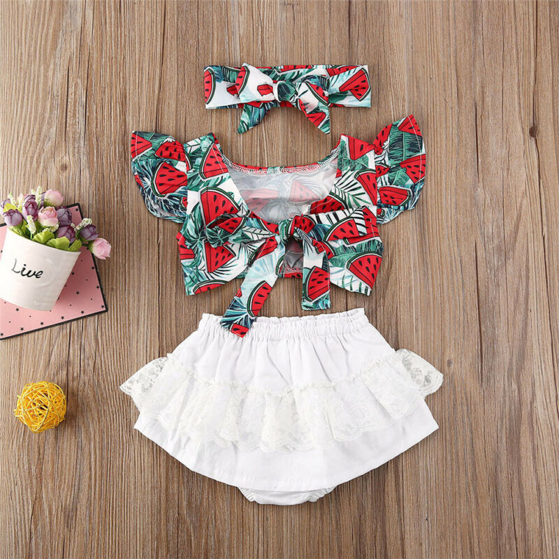 Летний комплект для девочек, одежда для новорожденных девочек, топ с арбузом, шорты, платье, летняя одежда с бантом для детей 0-24 месяцев, 2020