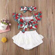 Комплект летней одежды для новорожденных девочек от 0 до 24 месяцев, топ и шорты с принтом арбуза, летняя одежда с бантом, 2020