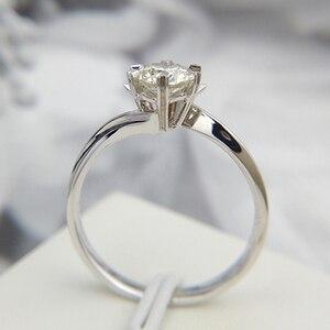 Image 2 - Klasyczne 925 sterling silver 1ct 2ct 3ct okrągły Brilliant Cut pierścień Moissanite diament biżuteria pierścionek zaręczynowy pierścionek jubileuszowy