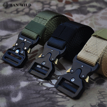цена на HAN WILD Cobra Belt Tactical Hiking Belts Men Outdoor Fan Hook & Loop Nylon Belt Quick Release Heavy Duty Training Waistband