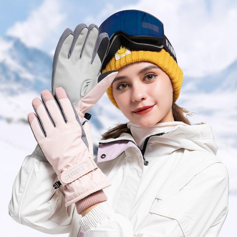 2021 Winter Women's Ski Gloves Plus Velvet Snowboard Snowmobile Riding Gloves Windproof Waterproof Touch Screen Leather Non-Slip