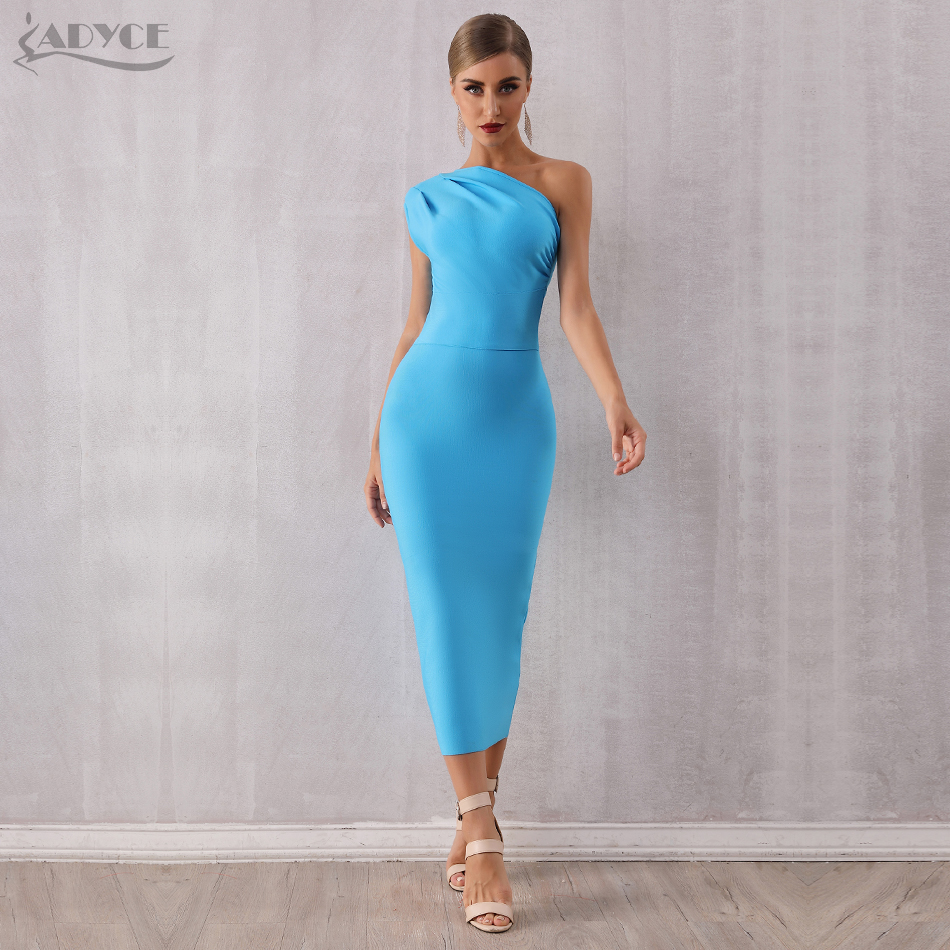 ADYCE 2020 New Fashion Elegant Women One Shoulder Bandage Dress Sexy Sleeveless Bodycon Sky Blue Celebrity Evening Party Dresses