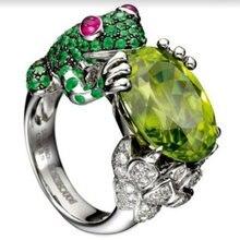Форма милой лягушки кольцо на палец винтажное зеленое кубическое