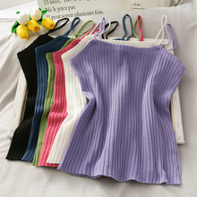 Heliar Women Summer Knitted Plain Tops Female Casual Tube Tops Tank Tops and Camisoles Soft Crop Tops For Women