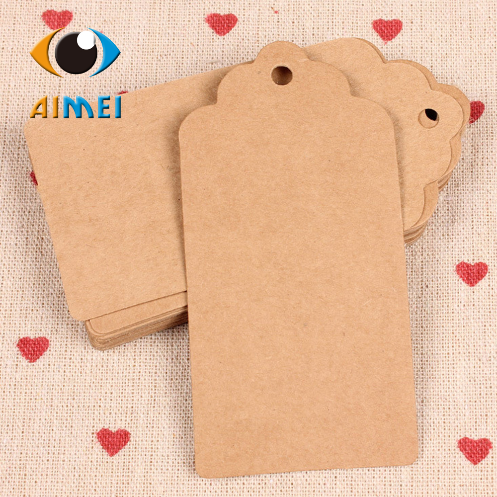 2X4Cm Kraft Paper Tags Square Wave Crest Pattern For Baking Up Blank Hang Tags For Shipping Mark Price Label Handmade Labels