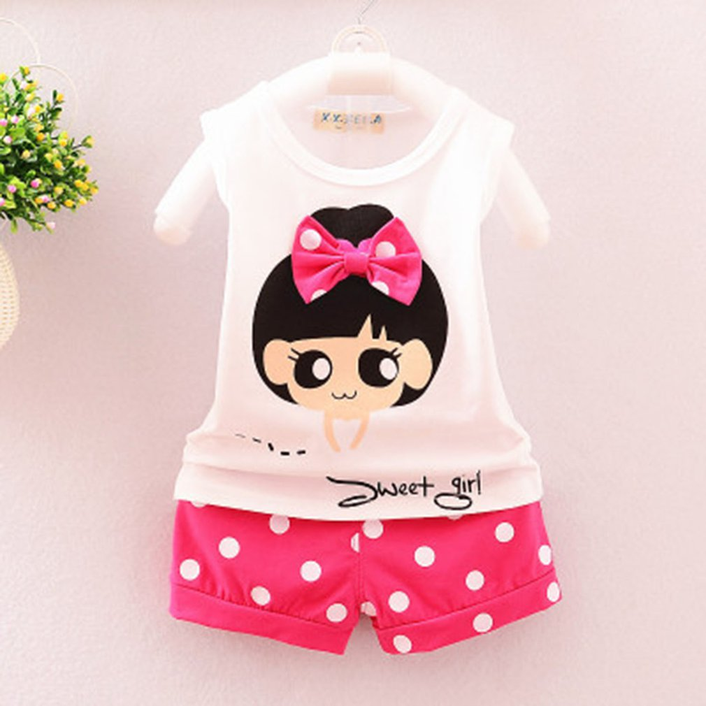 OUTAD Baby Boys Girls Clothes Set Summer Infant Cotton Sleeveless Cartoon Print T-shirts Tops And Shorts Clothing Bebes Suits