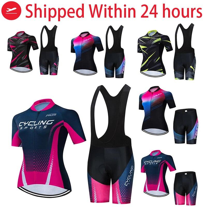 TELEYI Women/'s Cycling Jersey Set Short Sleeve Bike Clothing Bicycle Jersey Set