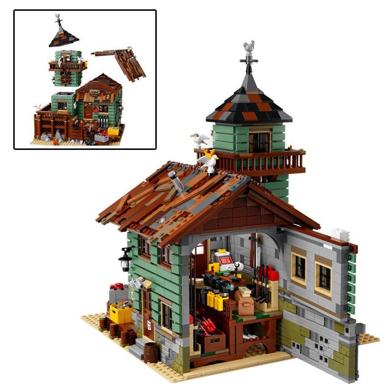 Bloques de construcción de la antigua tienda de pesca, juguetes para niños, cabaña de pescador junto al mar, regalos para niños, Compatible con bloques de modelo Street View
