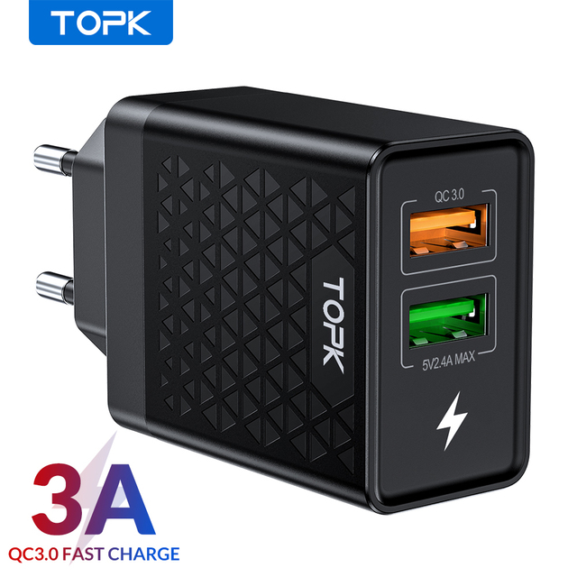 TOPK B254Q מהיר תשלום 3.0 USB הכפול מטען מתאם האיחוד האירופי נסיעות קיר QC3.0 מהיר טלפון מטען עבור iPhone סמסונג Xiaomi