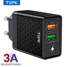 Зарядное устройство TOPK B254Q Quick Charge 3.0, EU дорожный настенный адаптер с двойным USB портом, QC3.0 быстрое зарядное устройство для iPhone Samsung Xiaomi