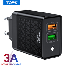 TOPK B254Q Quick Charge 3.0 Dual USB Charger Adapter EU Travel Wall QC3.0 caricabatterie rapido per iPhone Samsung Xiaomi